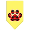Mirage Pet Products Argyle Paw Red Screen Print Bandana Yellow Small