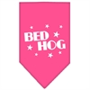 Mirage Pet Products Bed Hog Screen Print Bandana Bright Pink Large