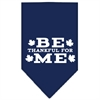 Mirage Pet Products Be Thankful for Me Screen Print Bandana Navy Blue Small