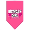 Mirage Pet Products Birthday girl Screen Print Bandana Bright Pink Large
