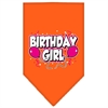 Mirage Pet Products Birthday girl Screen Print Bandana Orange Large