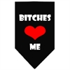 Mirage Pet Products Bitches Love Me Screen Print Bandana Black Small