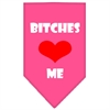 Mirage Pet Products Bitches Love Me Screen Print Bandana Bright Pink Small