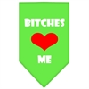 Mirage Pet Products Bitches Love Me Screen Print Bandana Lime Green Large