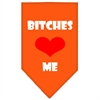 Mirage Pet Products Bitches Love Me Screen Print Bandana Orange Large