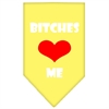 Mirage Pet Products Bitches Love Me Screen Print Bandana Yellow Large