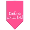 Mirage Pet Products Black Cats are Bad Luck Screen Print Bandana Bright Pink Large