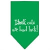 Mirage Pet Products Black Cats are Bad Luck Screen Print Bandana Emerald Green Small