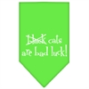 Mirage Pet Products Black Cats are Bad Luck Screen Print Bandana Lime Green Large