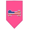 Mirage Pet Products Bone Flag American Screen Print Bandana Bright Pink Small
