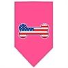 Mirage Pet Products Bone Flag American Screen Print Bandana Bright Pink Small