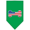Mirage Pet Products Bone Flag American Screen Print Bandana Emerald Green Large