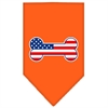 Mirage Pet Products Bone Flag American Screen Print Bandana Orange Large