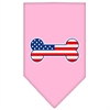 Mirage Pet Products Bone Flag American Screen Print Bandana Light Pink Large