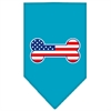 Mirage Pet Products Bone Flag American Screen Print Bandana Turquoise Large