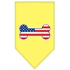 Mirage Pet Products Bone Flag American Screen Print Bandana Yellow Small