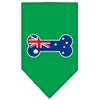 Mirage Pet Products Bone Flag Australian  Screen Print Bandana Emerald Green Large