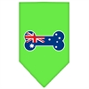Mirage Pet Products Bone Flag Australian  Screen Print Bandana Lime Green Large