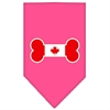 Mirage Pet Products Bone Flag Canadian  Screen Print Bandana Bright Pink Small