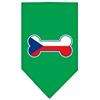 Mirage Pet Products Bone Flag Czech Republic  Screen Print Bandana Emerald Green Small
