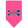 Mirage Pet Products Bone Flag Iceland  Screen Print Bandana Bright Pink Large