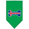 Mirage Pet Products Bone Flag Iceland  Screen Print Bandana Emerald Green Small