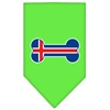 Mirage Pet Products Bone Flag Iceland  Screen Print Bandana Lime Green Small