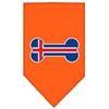 Mirage Pet Products Bone Flag Iceland  Screen Print Bandana Orange Large