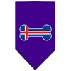 Mirage Pet Products Bone Flag Iceland  Screen Print Bandana Purple Small