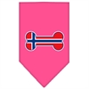 Mirage Pet Products Bone Flag Norway  Screen Print Bandana Bright Pink Large