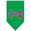 Mirage Pet Products Bone Flag Norway  Screen Print Bandana Emerald Green Small