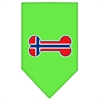Mirage Pet Products Bone Flag Norway  Screen Print Bandana Lime Green Small