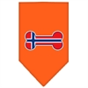 Mirage Pet Products Bone Flag Norway  Screen Print Bandana Orange Small