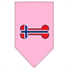 Mirage Pet Products Bone Flag Norway  Screen Print Bandana Light Pink Small