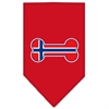 Mirage Pet Products Bone Flag Norway  Screen Print Bandana Red Large