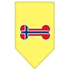 Mirage Pet Products Bone Flag Norway  Screen Print Bandana Yellow Small
