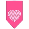 Mirage Pet Products Chevron Heart Screen Print Bandana Bright Pink Large