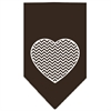 Mirage Pet Products Chevron Heart Screen Print Bandana Brown Large