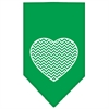 Mirage Pet Products Chevron Heart Screen Print Bandana Emerald Green Small