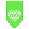 Mirage Pet Products Chevron Heart Screen Print Bandana Lime Green Small