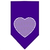 Mirage Pet Products Chevron Heart Screen Print Bandana Purple Small