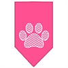 Mirage Pet Products Chevron Paw Screen Print Bandana Bright Pink Large