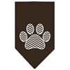 Mirage Pet Products Chevron Paw Screen Print Bandana Brown Large