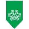 Mirage Pet Products Chevron Paw Screen Print Bandana Emerald Green Large