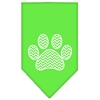 Mirage Pet Products Chevron Paw Screen Print Bandana Lime Green Large
