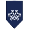 Mirage Pet Products Chevron Paw Screen Print Bandana Navy Blue large