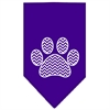 Mirage Pet Products Chevron Paw Screen Print Bandana Purple Small