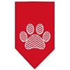 Mirage Pet Products Chevron Paw Screen Print Bandana Red Large