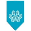 Mirage Pet Products Chevron Paw Screen Print Bandana Turquoise Large