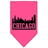 Mirage Pet Products Chicago Skyline Screen Print Bandana Bright Pink Small